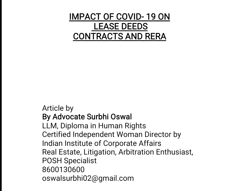 IMPACT OF COVID- 19 ON   LEASE DEEDS  CONTRACTS AND RERA