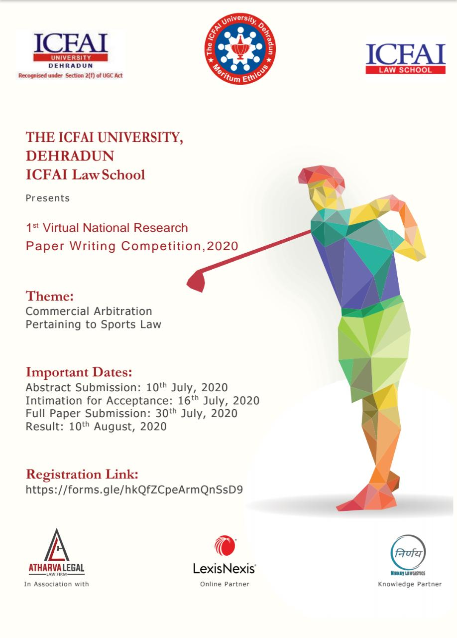 First Virtual National Research Paper Writing Competition, 2020 By ICFAI University Dehradun