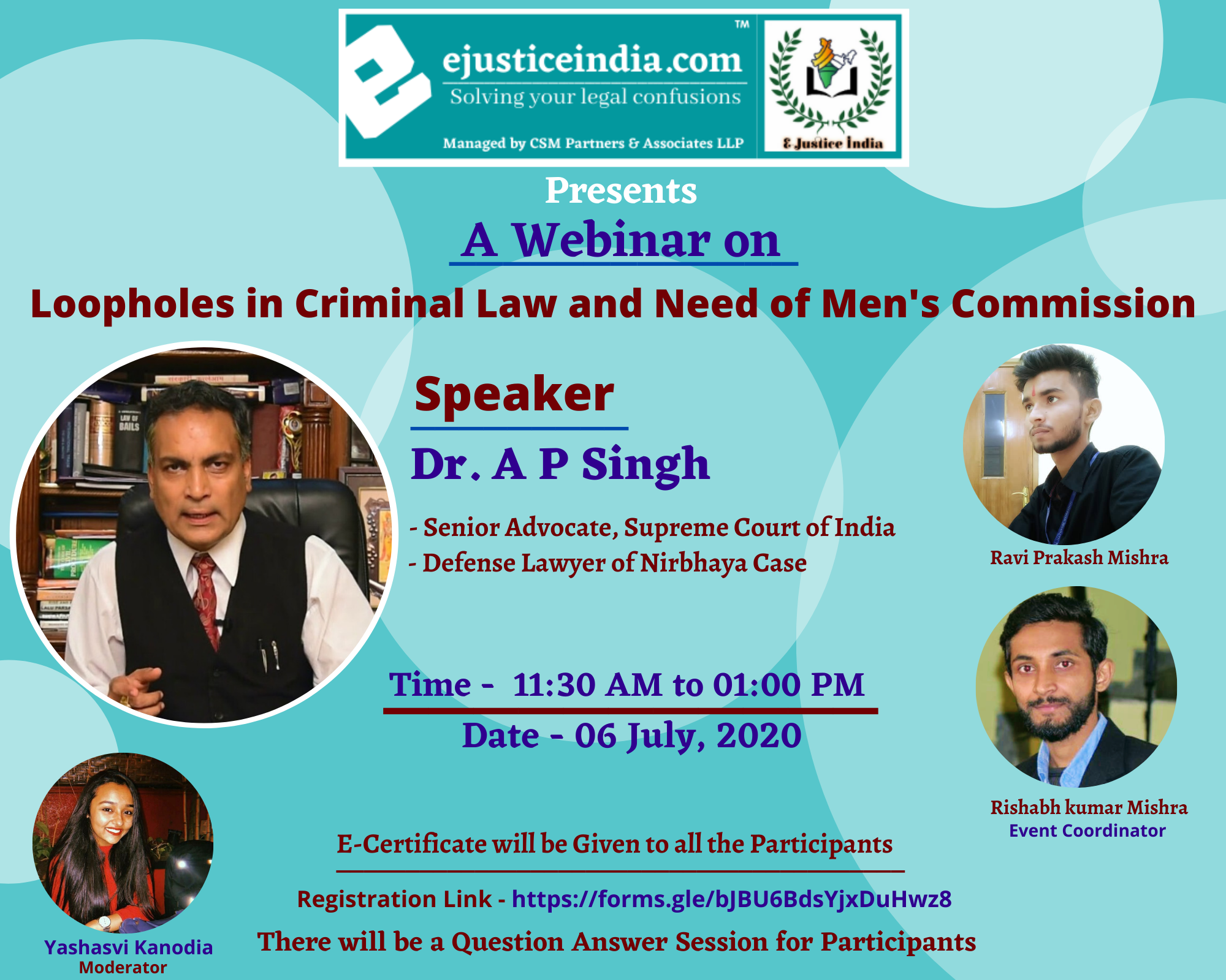 E-Justice India is Organizing Webinar on Loopholes in Criminal Law and Need of Men's Commission
