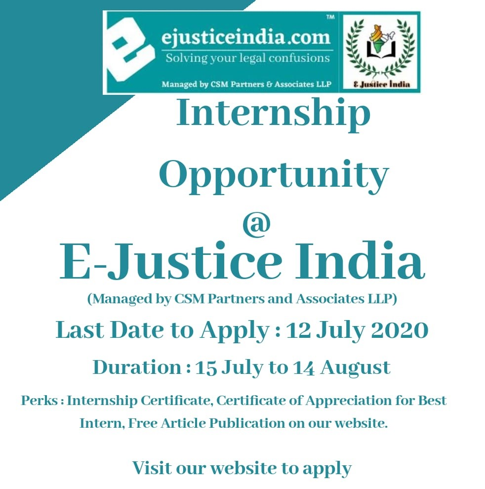 Virtual Internship Opportunity at ejusticeindia.com