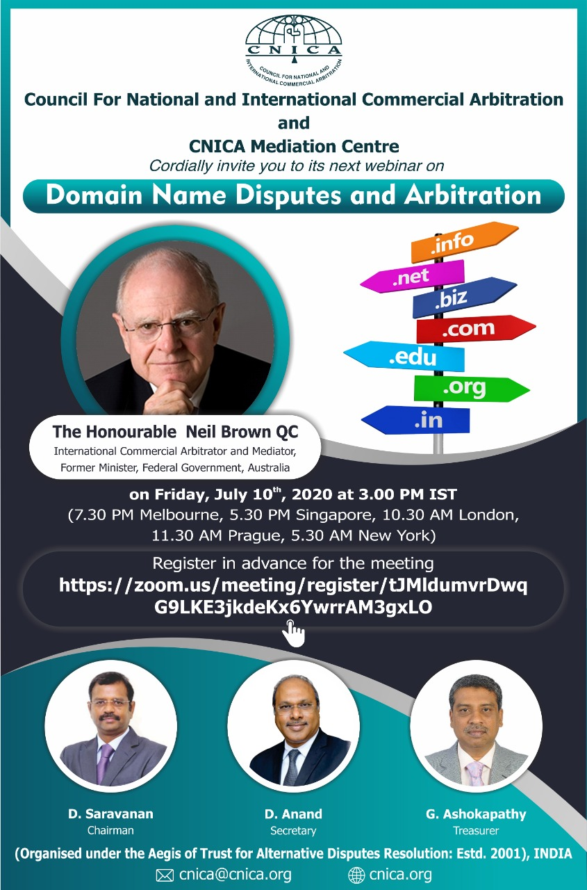 """CNICA and CNICA Mediation Centre Cordially invite you to its Webinar on """"Domain Name Dispute and Arbitration"""""""