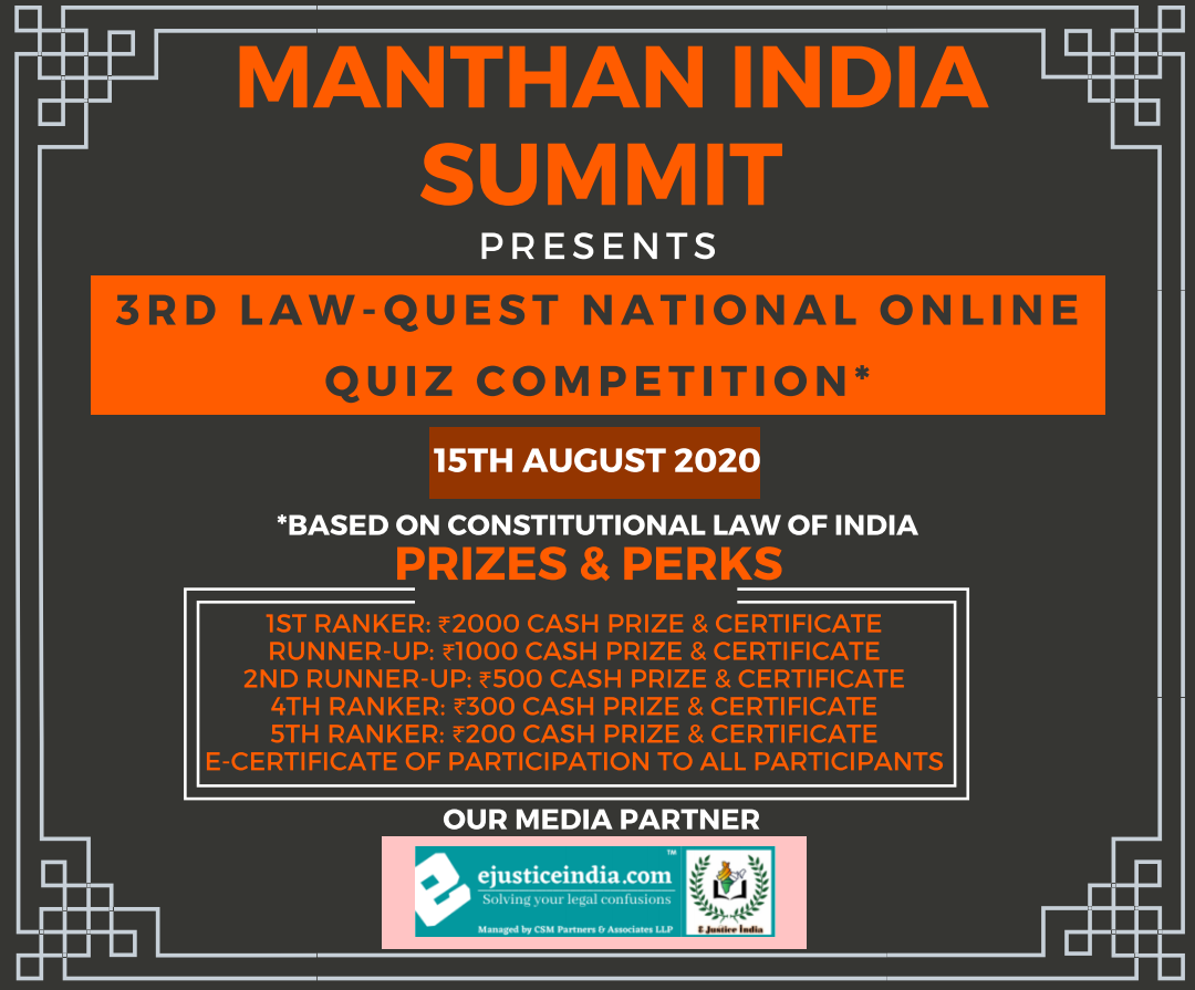 Manthan India Summit is Organizing 3rd Law Quest Online Law Quiz