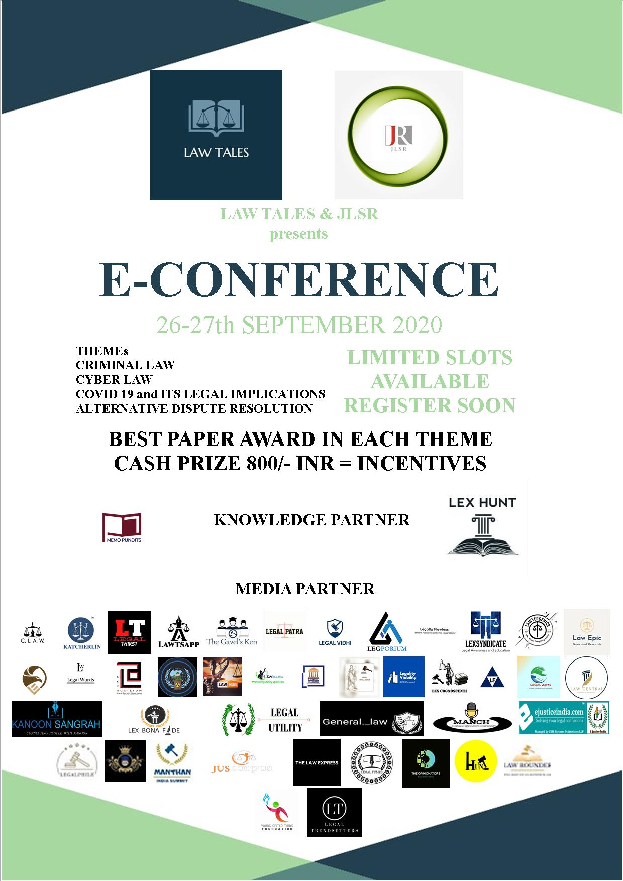 E- CONFERENCE by LAW TALES & JLSR JOURNAL: Submit by 15th September 2020