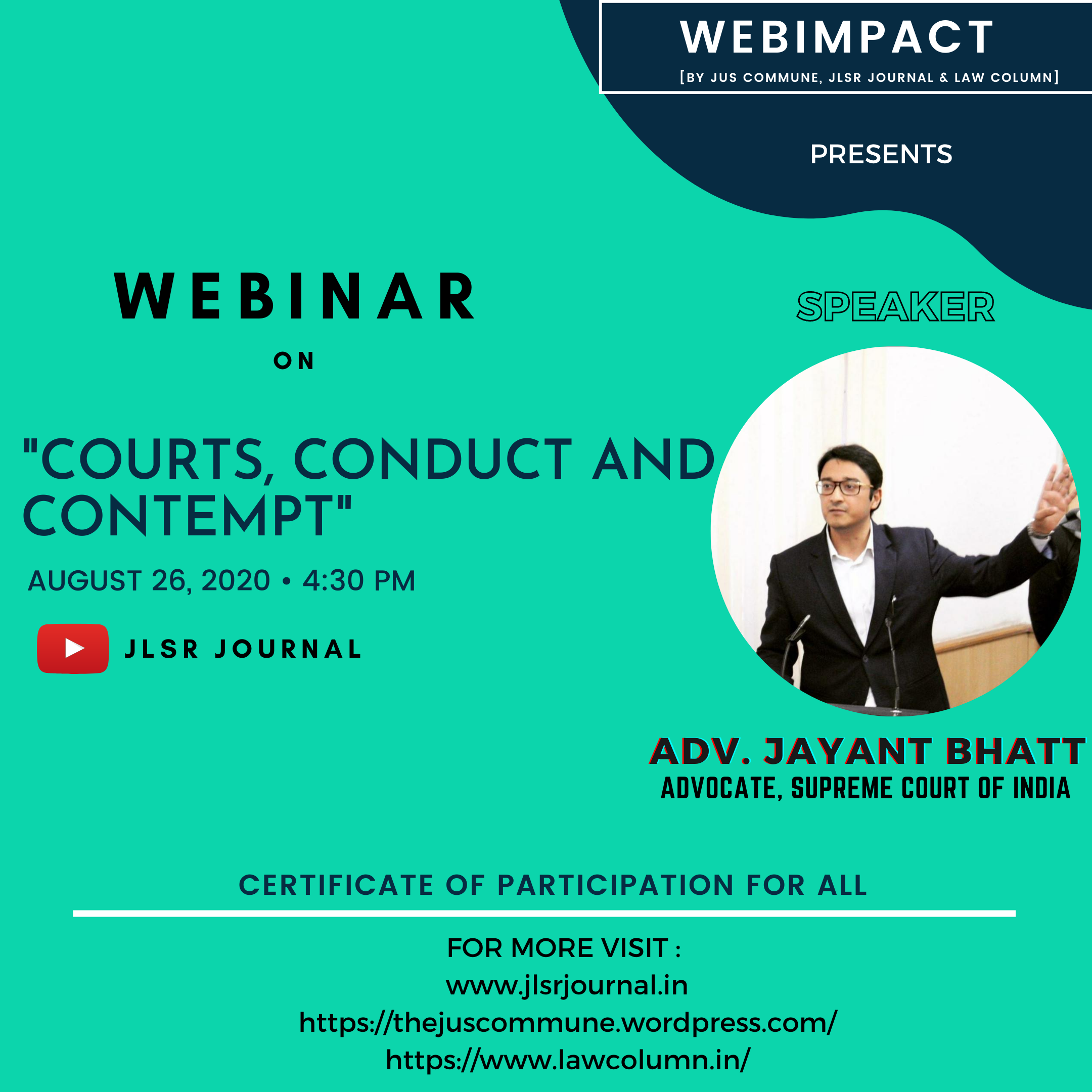"""WEBIMPACT'S WEBINAR ON """"COURT, CONDUCT AND CONTEMPT"""" : REGISTER NOW!!!"""