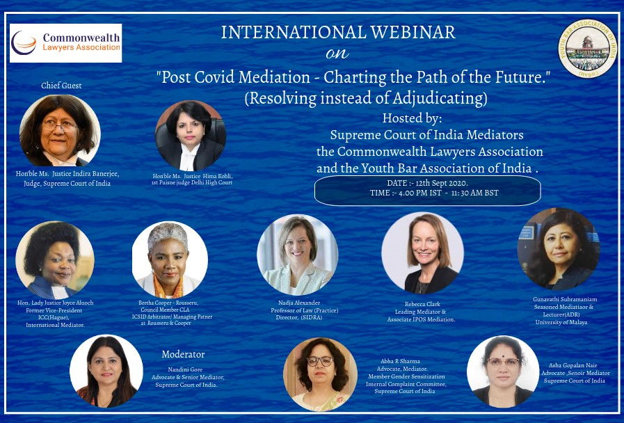 """Webinar on the topic """"Post-COVID MEDIATION-CHARTING THE Path of the Future"""