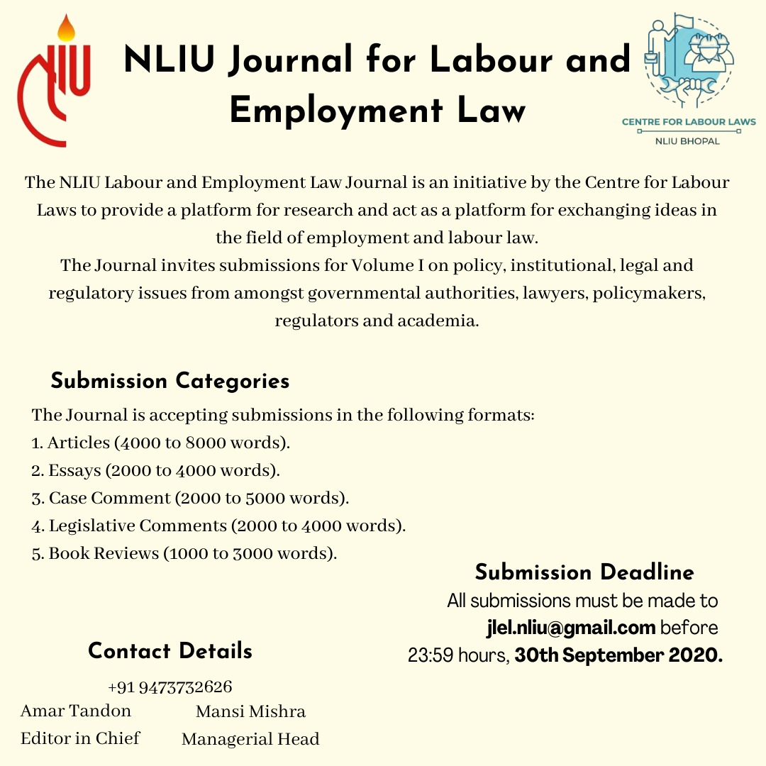 Call for Papers: NLIU Journal of Labour and Employment Law (JLEL)