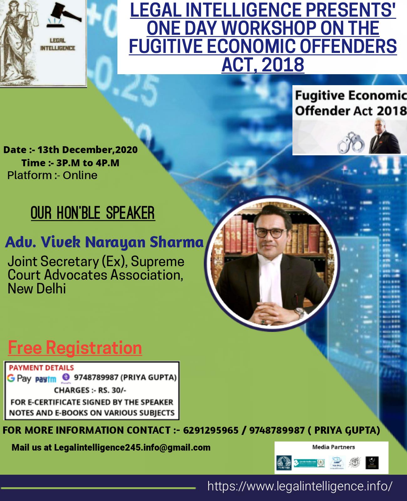 Legal Intelligence is Organizing one day workshop on Fugitive Economic Offenders Act, 2018