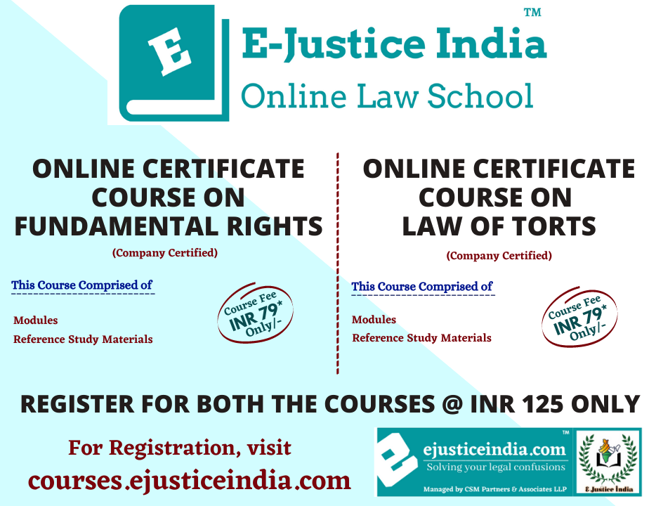 Online Certificate Course on Law of Torts and Fundamental Rights