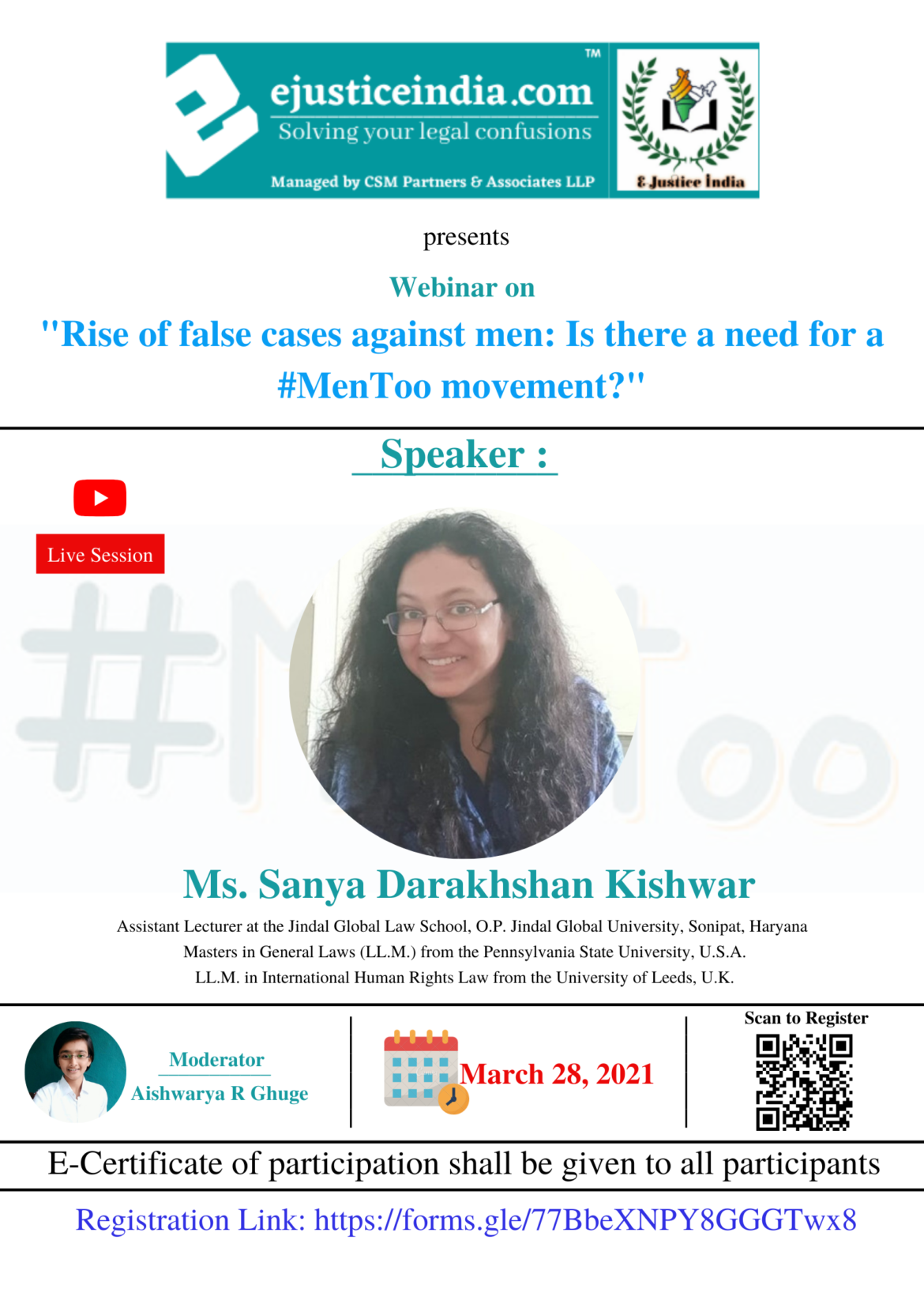 """Webinar on """"Rise of false cases against men: Is there a need for a #MenToo movement?"""""""