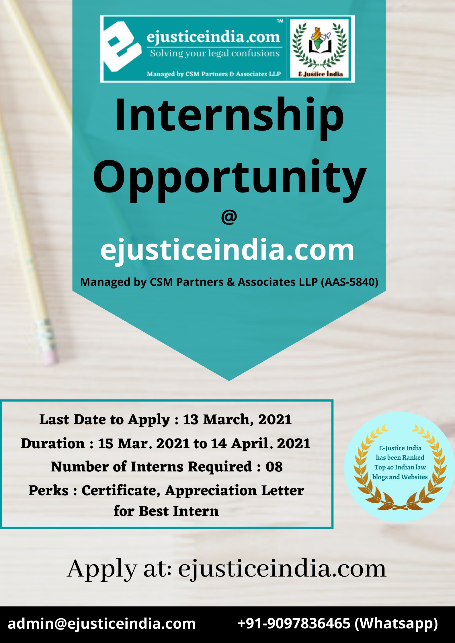 Online Internship Opportunity at E-Justice India (CSM Partners and Associates LLP)