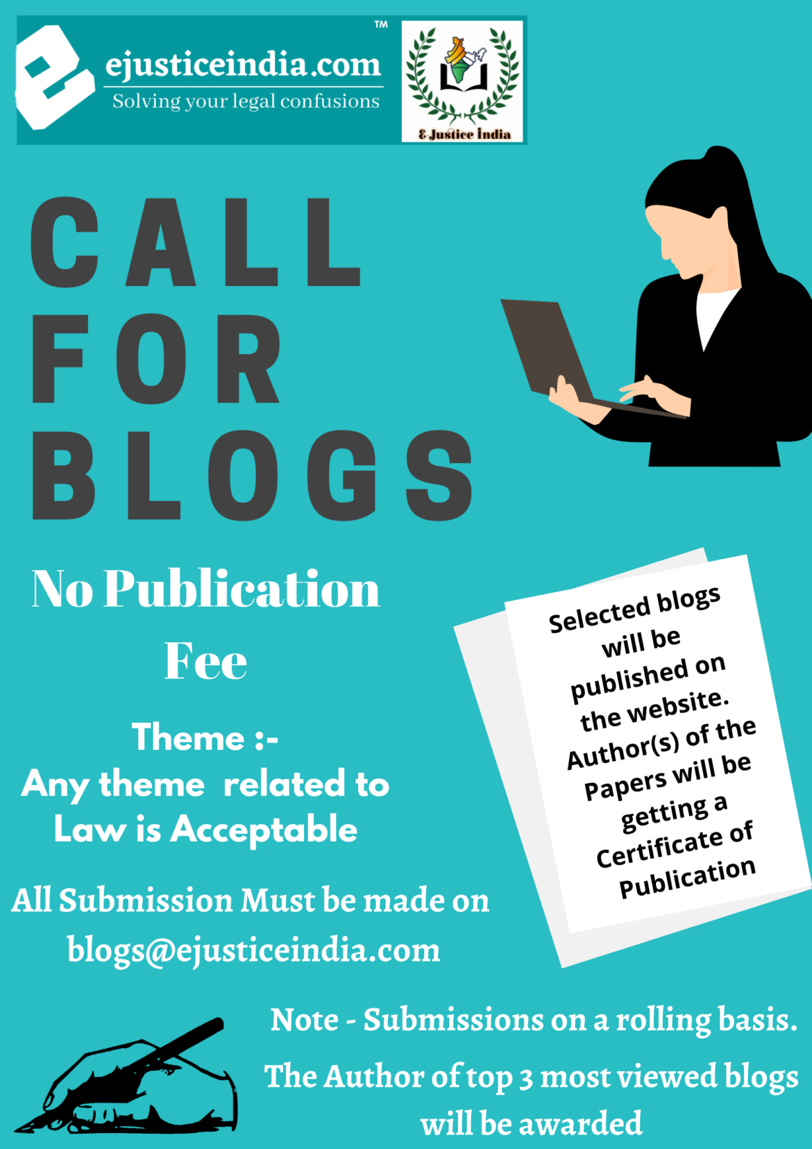 Call for Blogs by E-Justice India : No Registration Fee, Submission on Rolling Basis (Publication Certificate will be Given)