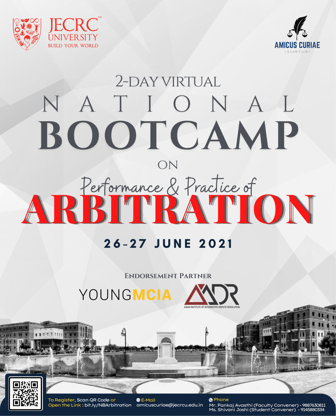 National Bootcamp on Arbitration by JECRC University on 26th – 27th of June, 2021