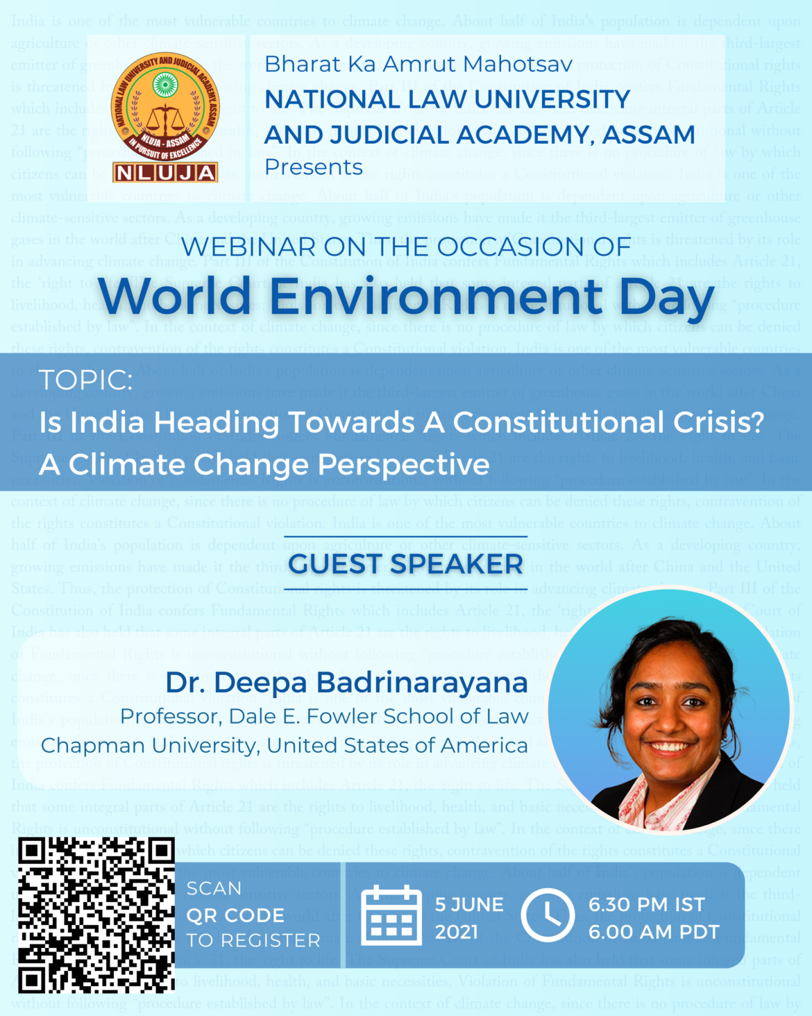 """NLU Assam is organizing a Webinar on the topic """"Is India Heading Towards a Constitutional Crisis? – A Climate Change Perspective"""""""