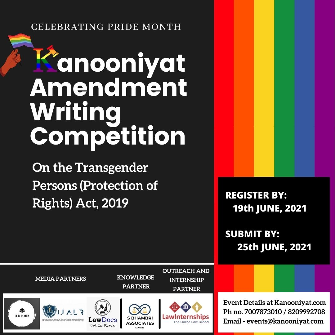 Kanooniyat Amendment Writing Competition, 2021 on the Transgenders Act (Register by June 19)