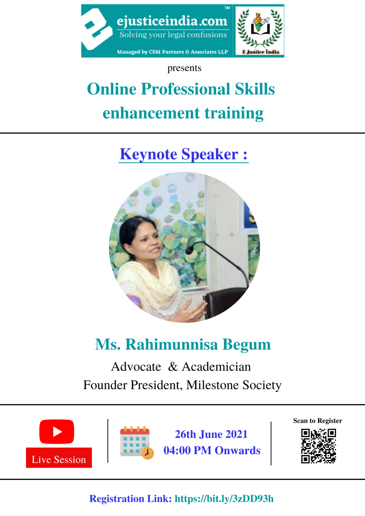 Free Online Professional skills enhancement training by E-Justice India: Register by 25 June, 2021